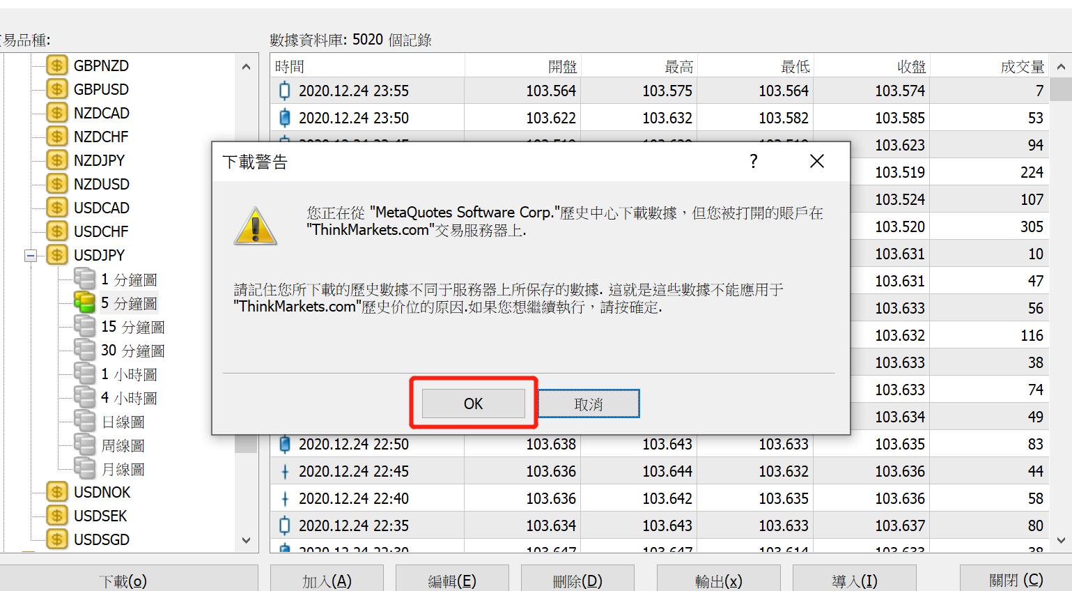 EA教學-歷史資料中心-美元日圓5分鐘圖下載