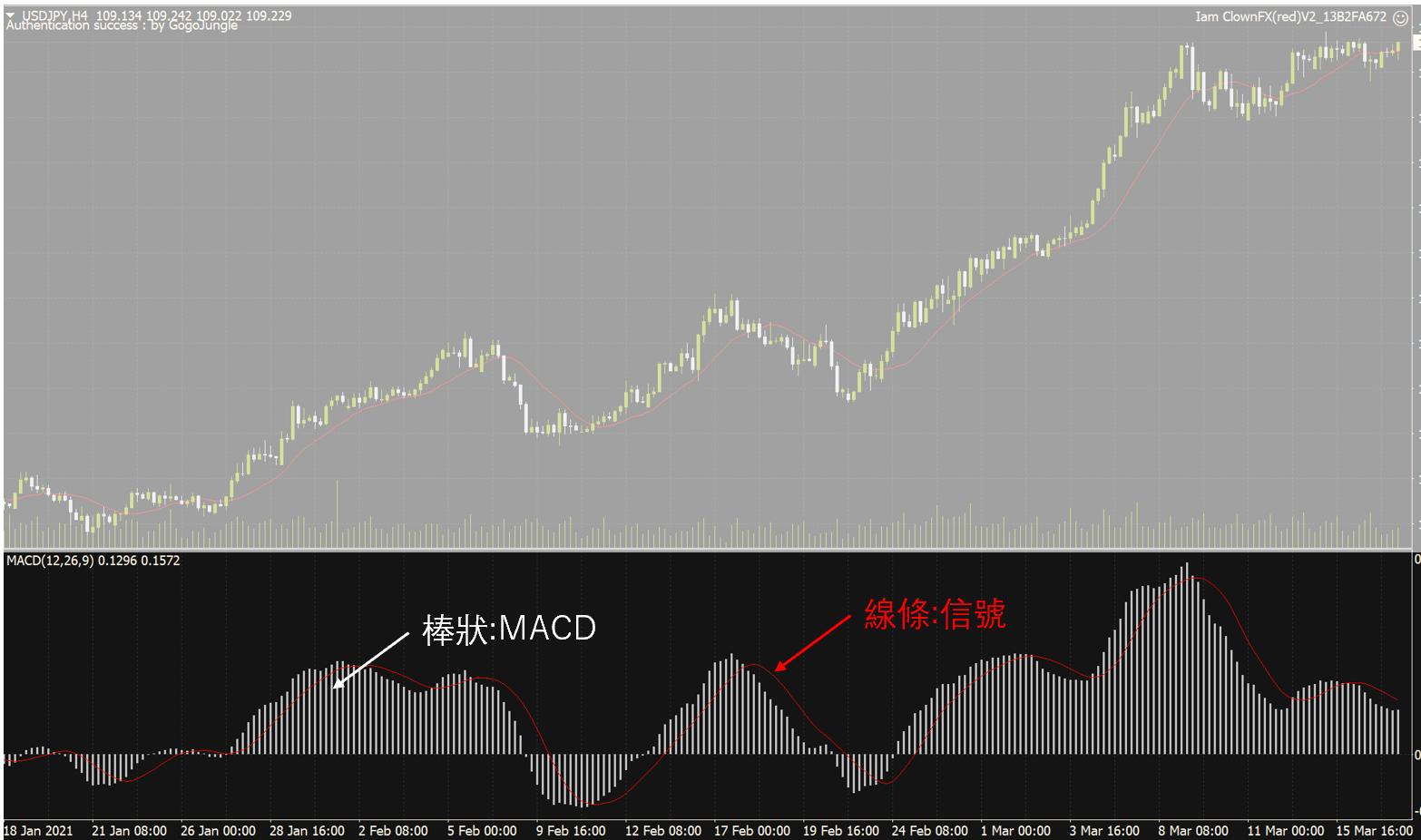 在MT4顯示MACD指標的畫面