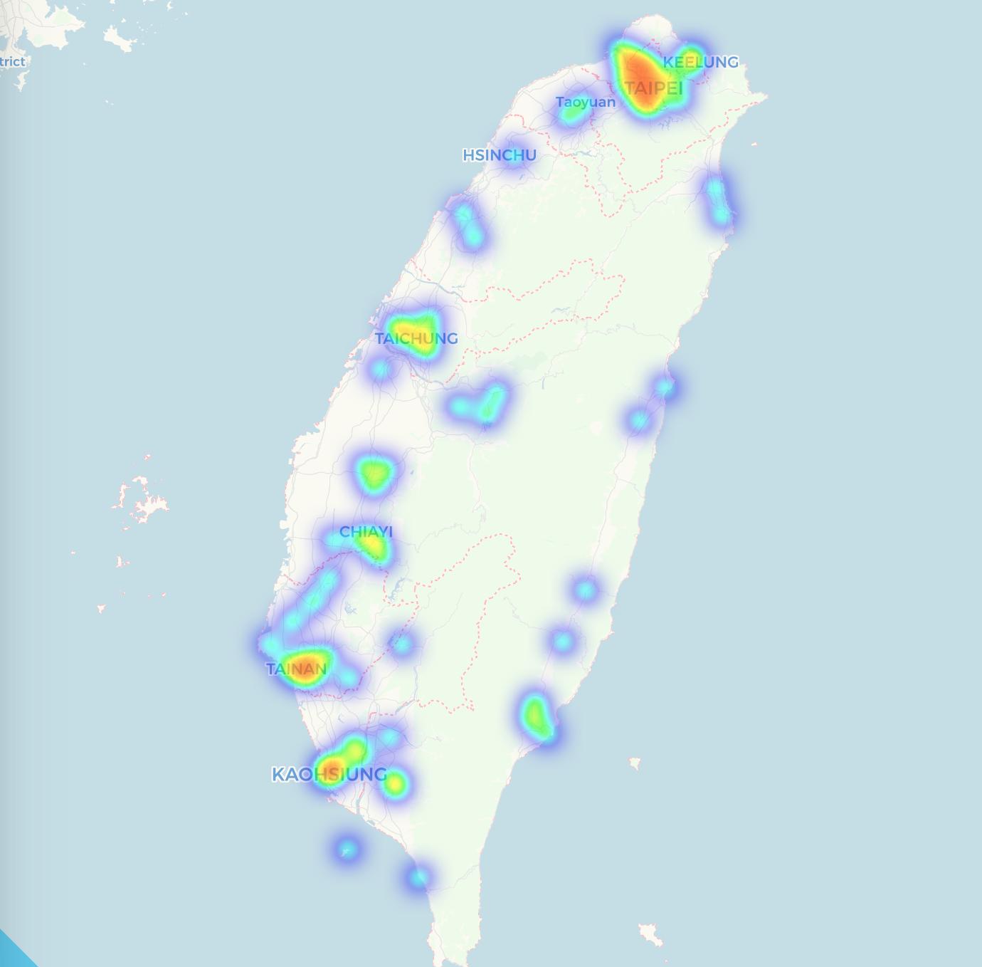 台灣比特幣消費分佈圖